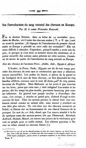 1816 Rzewusky: Sur l'introduction du sang oriental des chevaux en Europe
