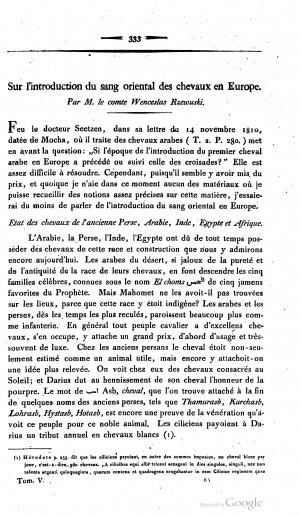 1816 Rzewusky: Sur l'introduction du sang oriental des chevaux en Europe