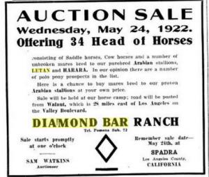 Diamond Bar advertisement in Pacific Rural Press, Vol. 103