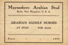 Maynesboro Arabian Stud 1920 catalog